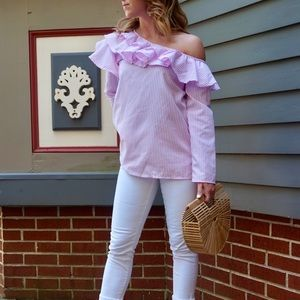 Tops - Striped One Shoulder Ruffle Top